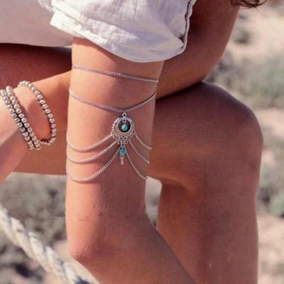 Jewelry - Silver Turquoise Arm Cuff Anklet Bracelet …